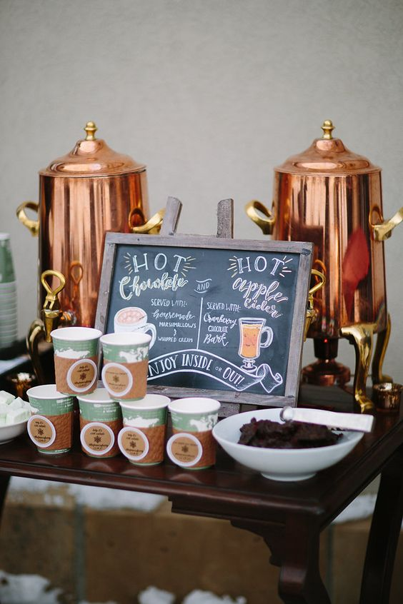 Hot Chocolate Bar - Having a winter wonderland wedding? Get a hot chocolate bar! This is perfect for those cold nights under the stars because it will warm up your guests in no time & give them the sugar rush they need to get back on the dance floor.Credit: Weddings by FunJet