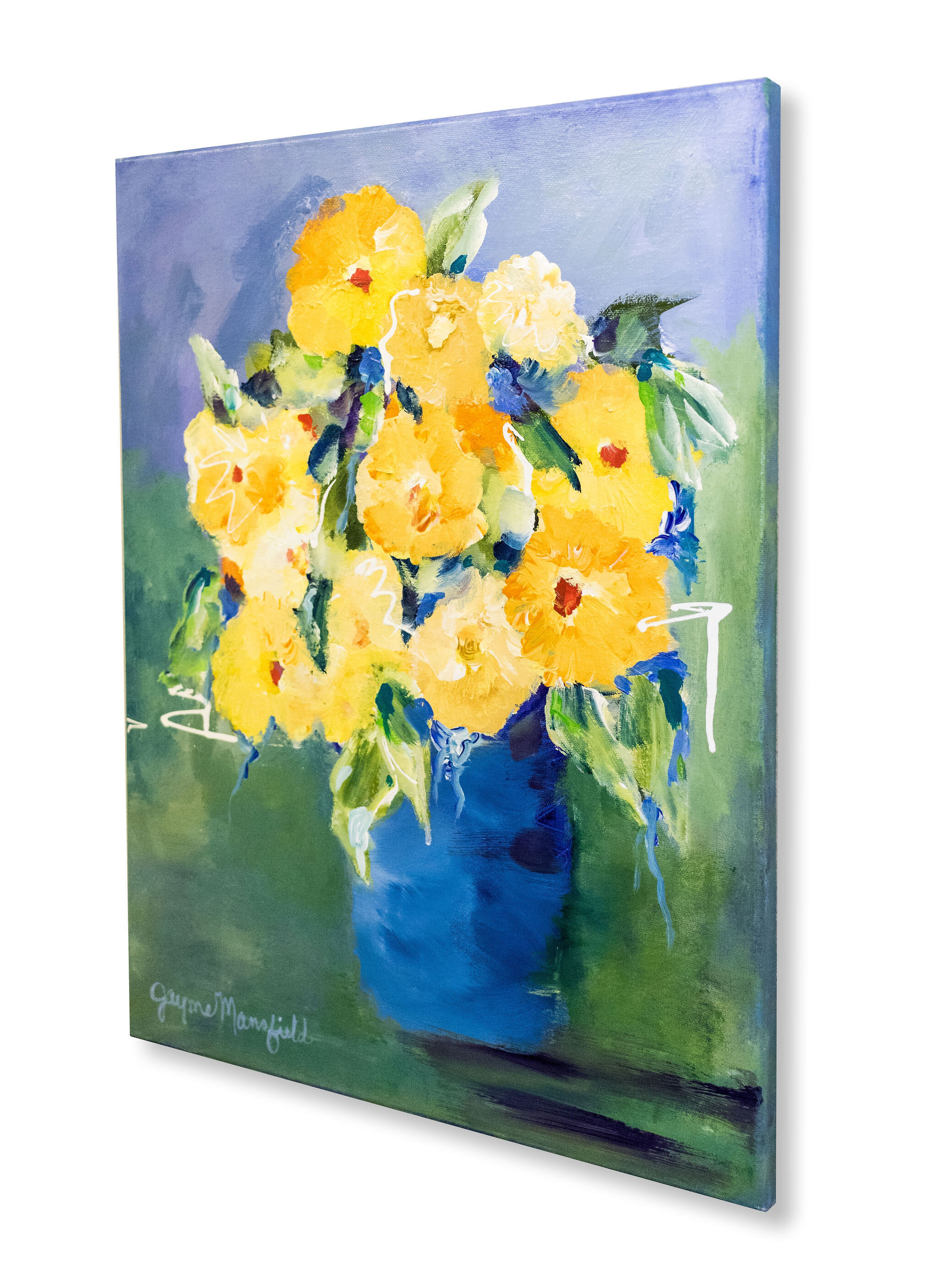 """""""Blue and Yellow Floral"""" 16 x 20"""