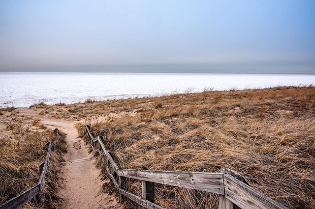 When's the last time you saw a sheet of ice waving back and forth against the sand? #indianadunes