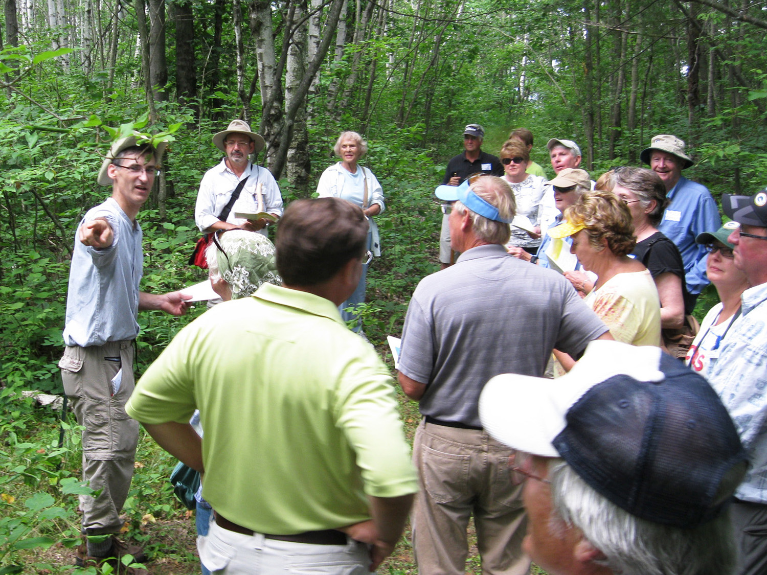 Dan leads survey reenactment hike at Bay Shore Blufflands