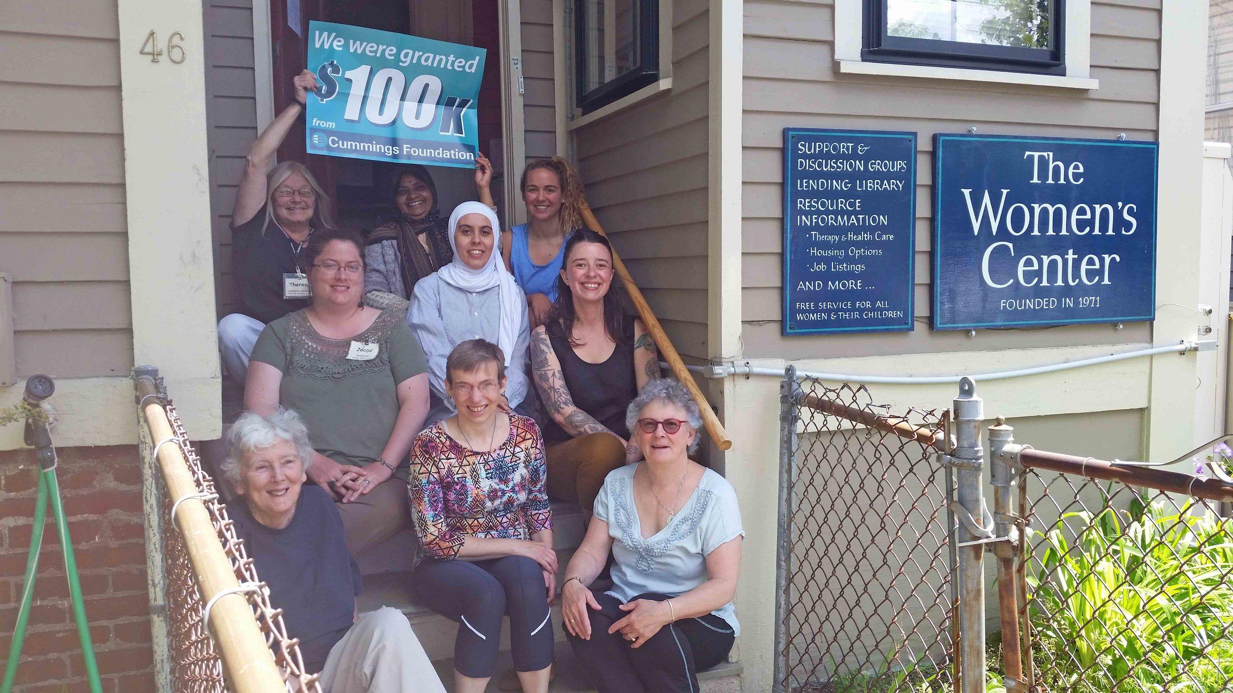 Women's Center members celebrate our Cummings Foundation award.