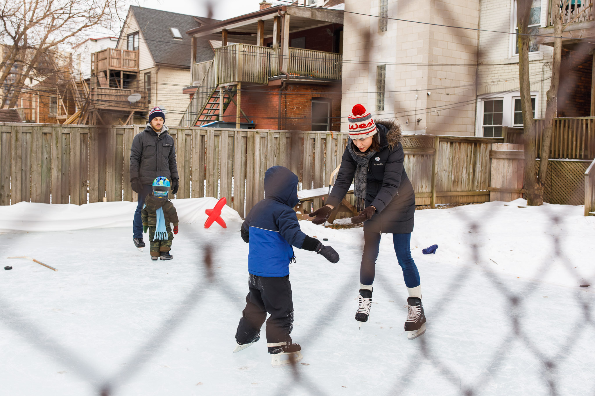 Hamilton backyard ice rink family session