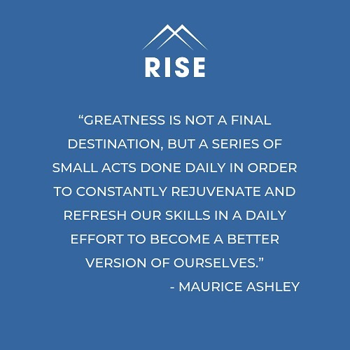 Let's read that again...and again and again •Every single day• it's those little acts of mindfulness that will bundle up into a massive ball of forward moving, positive momentum. . . . Match up with a RISE Mentor & Keep at it!! . . . #daily #mindfulness #rise #riseathletes #onlinementoring #greatness #empowerment