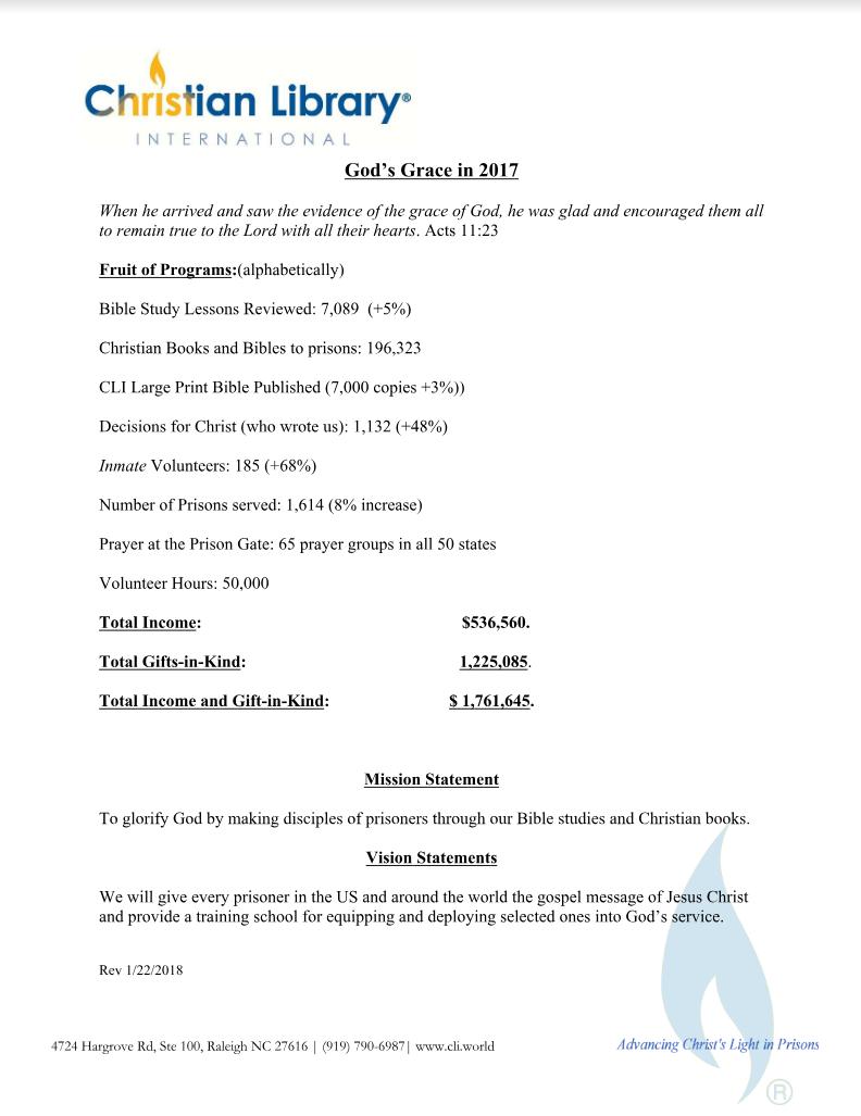 2017 God's Grace Annual Report