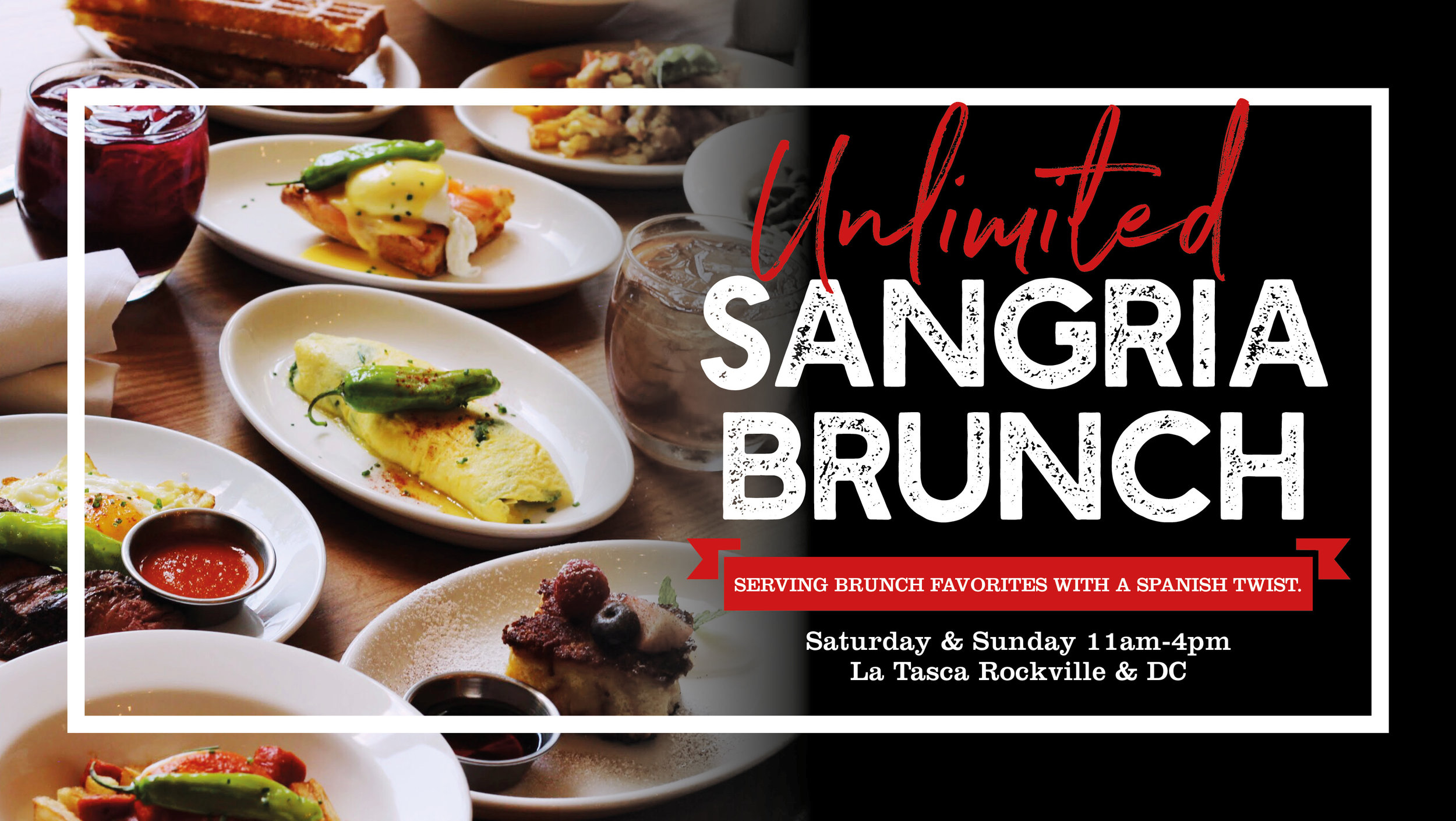 Unlimited Brunch - Bottomless sangria brunch and three brunch tapas for $39 every Saturday & Sunday at La Tasca DC & Rockville.