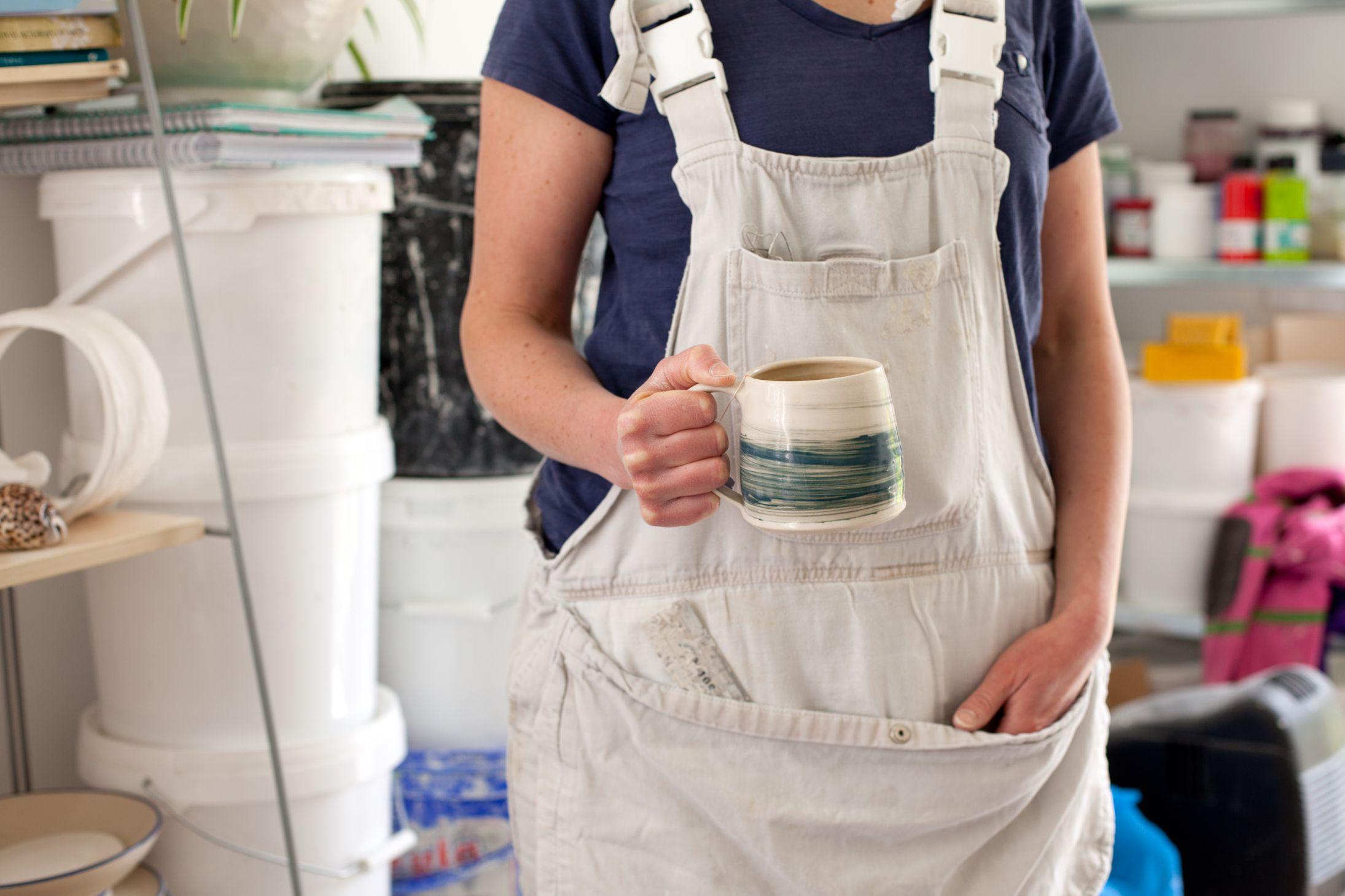 Ros Arrowsmith with mug