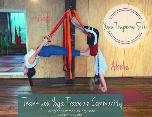 Summer Inversion Party was a hit Tuesday night! ———— The lucky attendee Aimee Rethmeyer wins TWO tickets to any class of her choosing. - Deep gratitude for the interest Yoga Trapeze STL has gotten. The studio will be celebrating its ONE YEAR in August! - Introducing Abbie Gutman, she has completed her Certified Yoga Trapeze Training and will be integrating in the studios offerings and teaching. - Arielle is off on a European adventure for the next couple of weeks. Studio will be open the week of July 8th. - In the meantime- rest, get your feet on the ground, enjoy the summer and when we come back there will be a multitude of options! • Kids Yoga Trapeze workshops with @completeharmonystl • Chesterfield Yoga Trapeze classes • Vast offering of weekly classes • Special workshops offering deeper training and partner yoga trapeze • 4 week series program offerings  Hang soon!