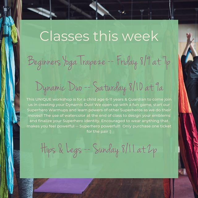 Big Things happening with YTSTL! - Kids Yoga Trapeze workshop offering happening this Saturday and expanded into Sunday, with a hips & legs class! #yogatrapezestl