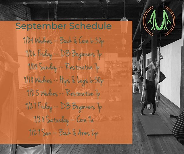 September is upon us! —— Class schedule is posted on Schedulicity and Facebook. This month's schedule is slightly off with less Saturday classes that will only be during September. —— October will bring more consistency as the studio has decided to offer more Donation Based (DB) Beginners class with the usual Saturday morning/mid day offering! —— Hang soon 🤸🏻♂️