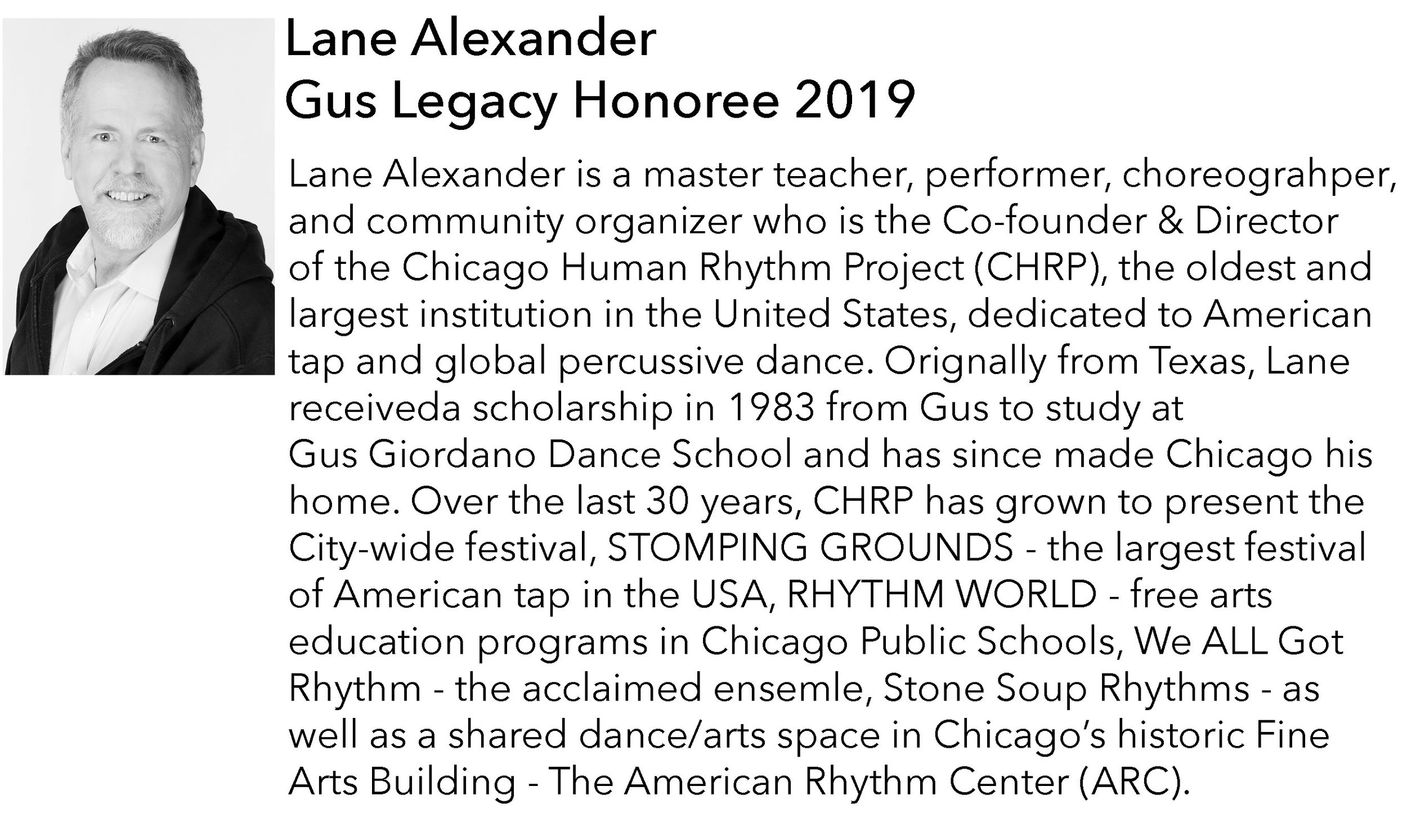Lane Alexander, Gus Legacy Foundation Honoree