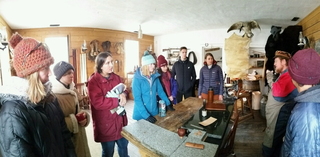 The Digital Junior Ranger team learning about leather-making along a National Historic Trail in Utah. Photo provided by Amanda Botsford.