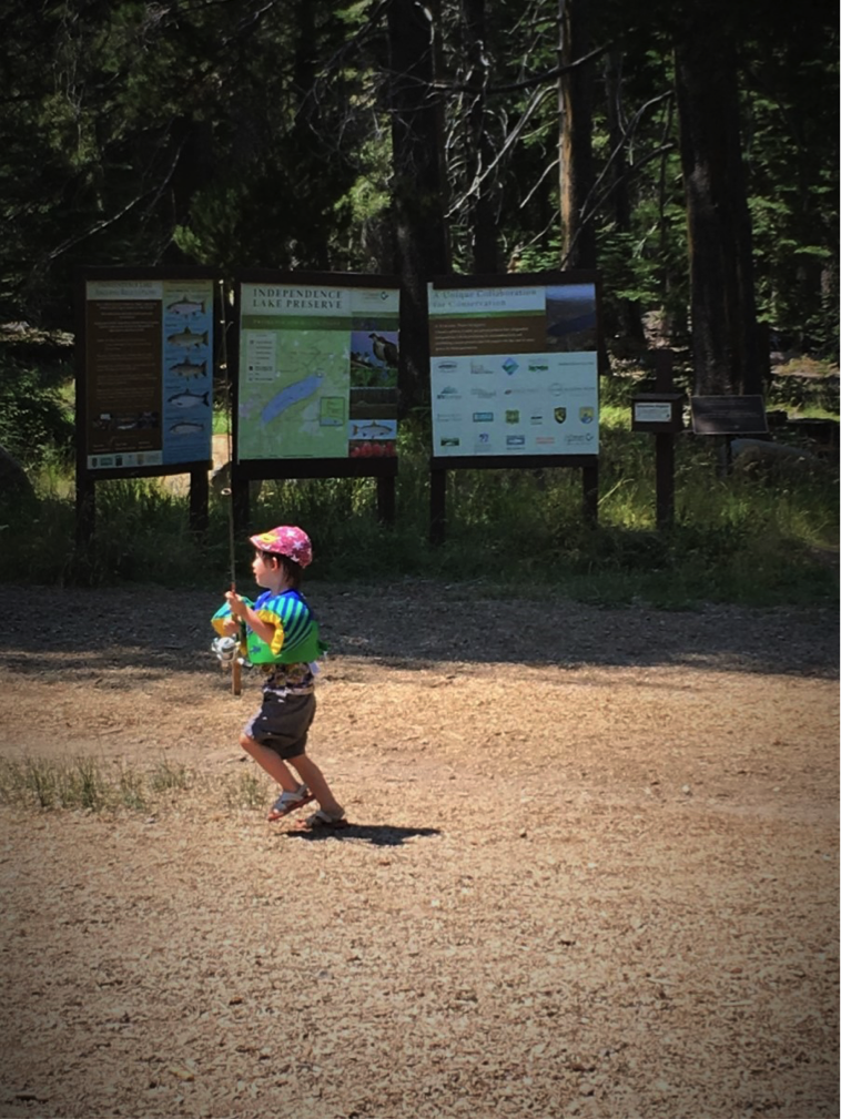 A youngster getting ready to cast a line at Independence Lake Preserve located near Truckee, California. Photo provided by Mila Bock.