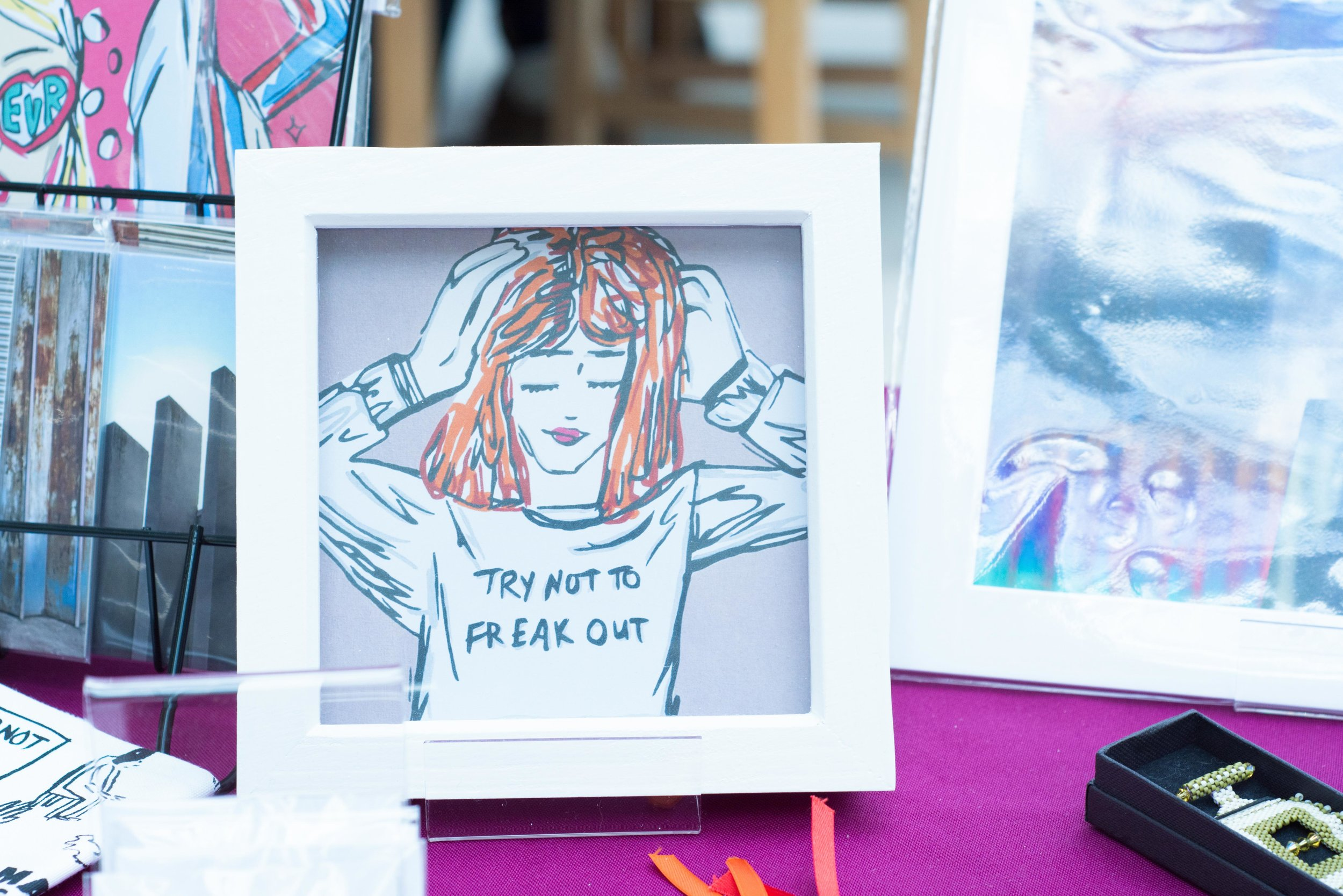 'Try Not To Freak Out' frame by Bec Broomhall Arts