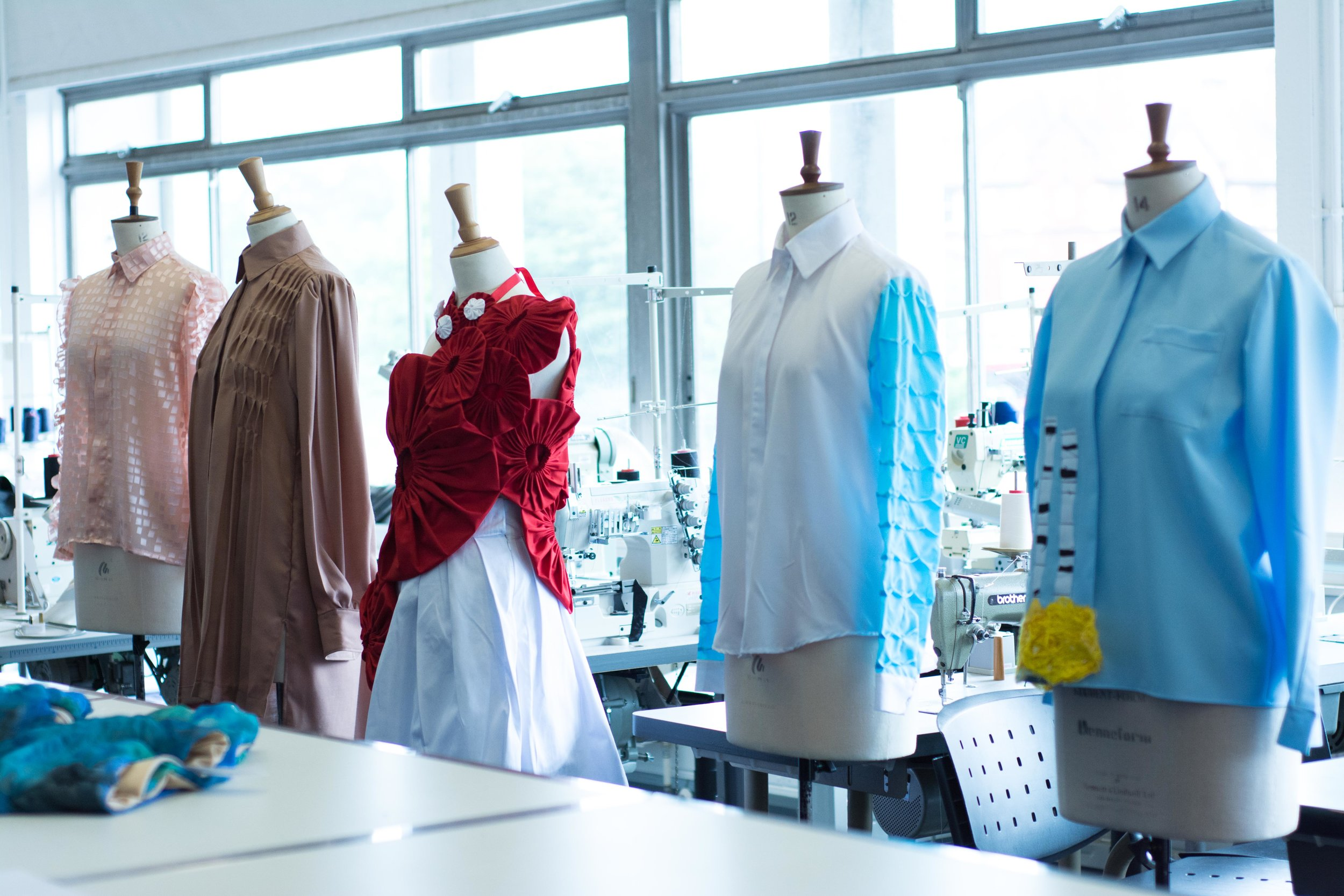 Garments on display in the Fashion & Textiles department, University of Wolverhampton