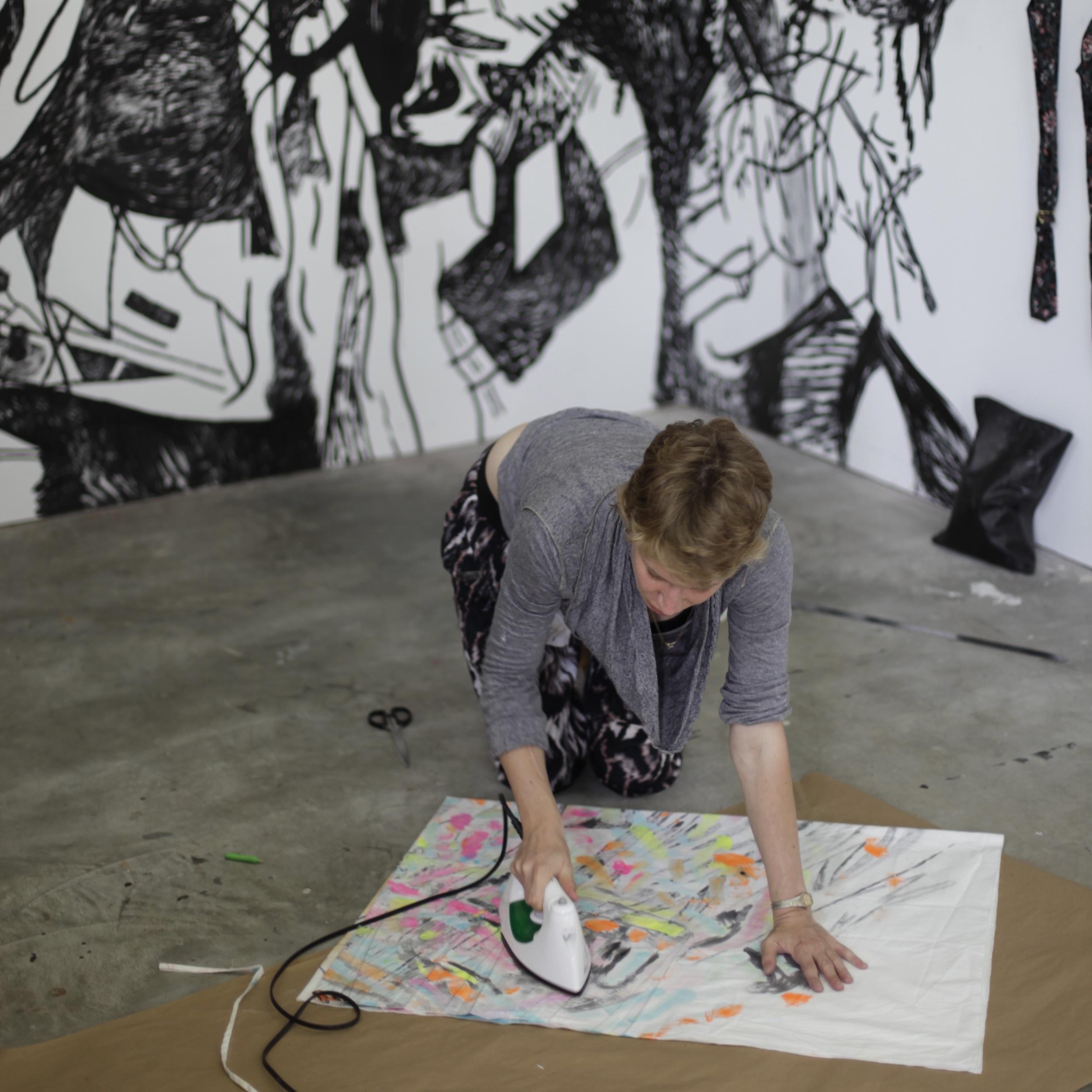 Artist Ivonne Dipman at work at the Skowhegan School of Painting & Sculpture