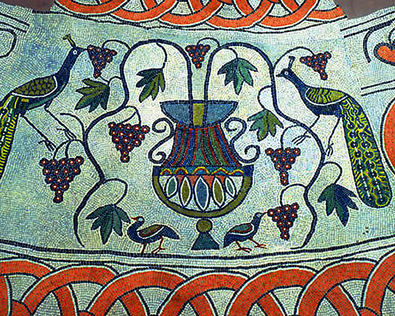 A sixth century mosaic located at the archaeological site in Butrint, Albania