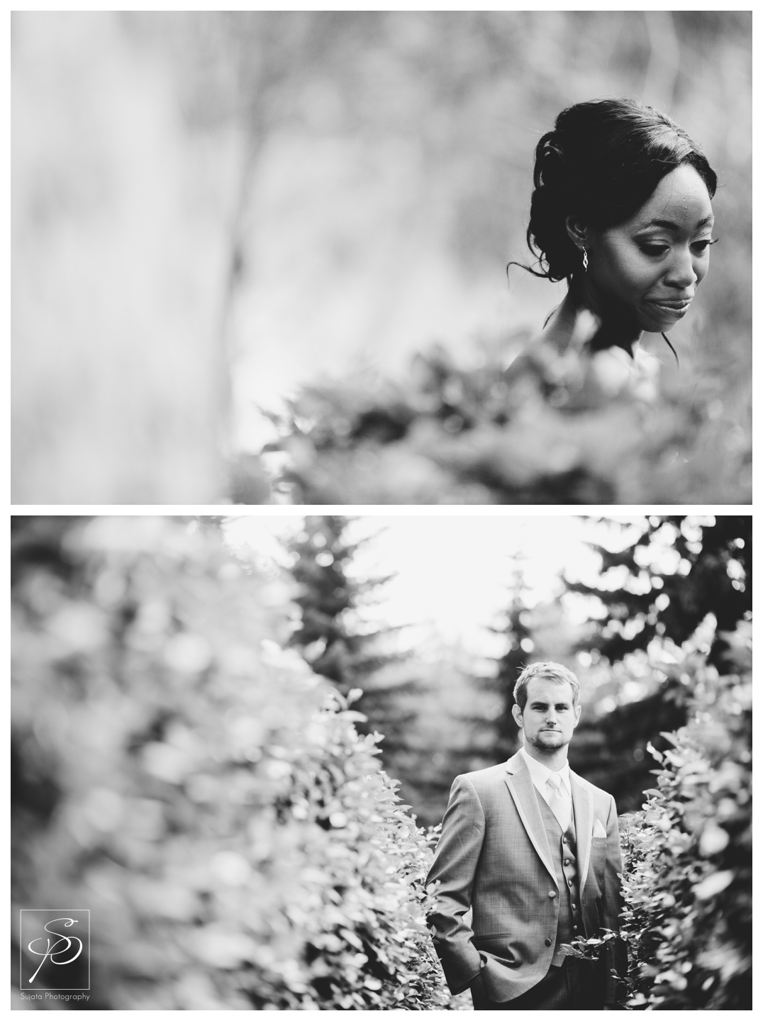 Black and White bridal portraits in Woods Park Calgary