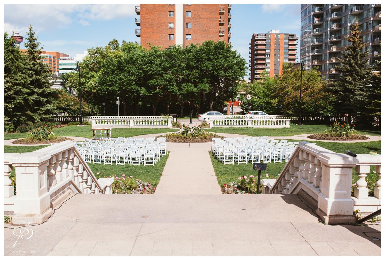 Outdoor Garden Wedding ceremony at Lougheed House Calgary