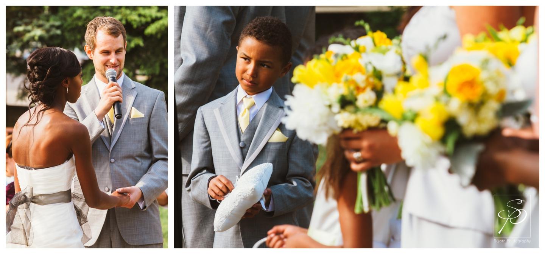 Bridesmaids bouquet at a garden wedding ceremony at Lougheed House
