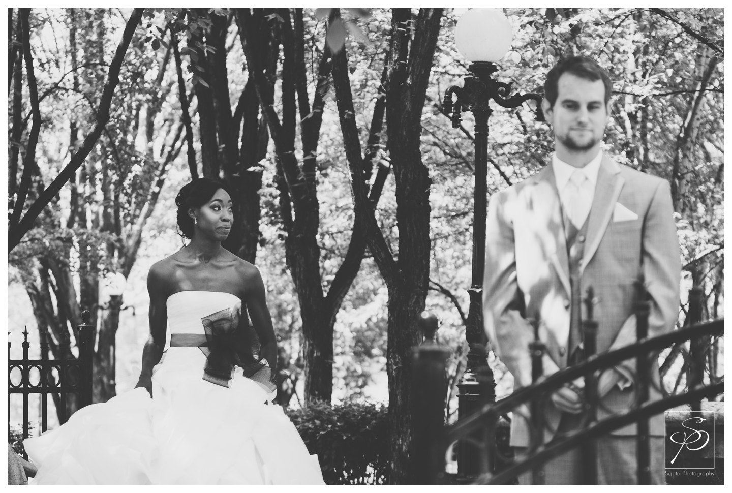 Black and white portraits of Bride and Groom at Woods Park