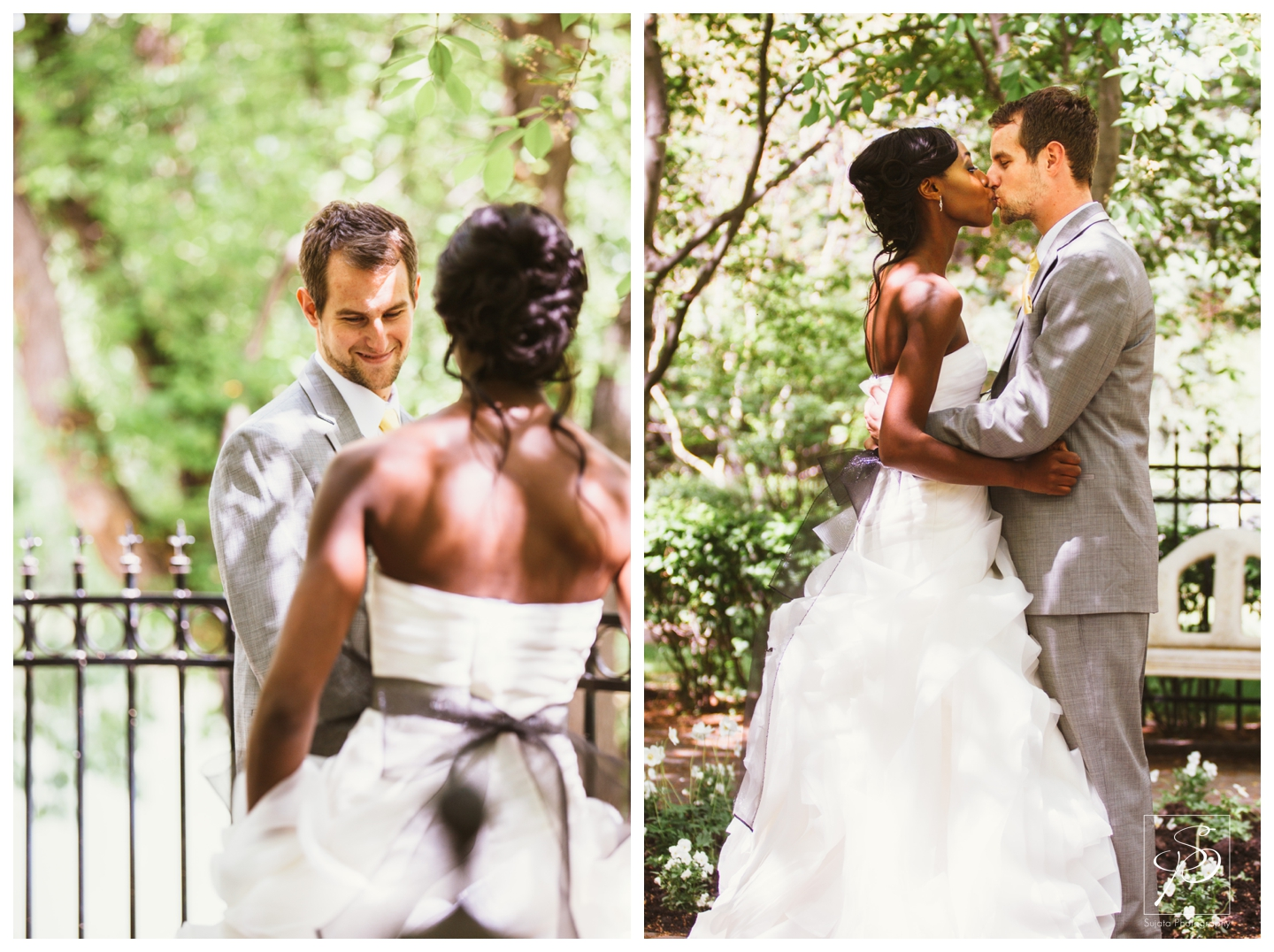 Portraits of Bride and Groom at Woods Park
