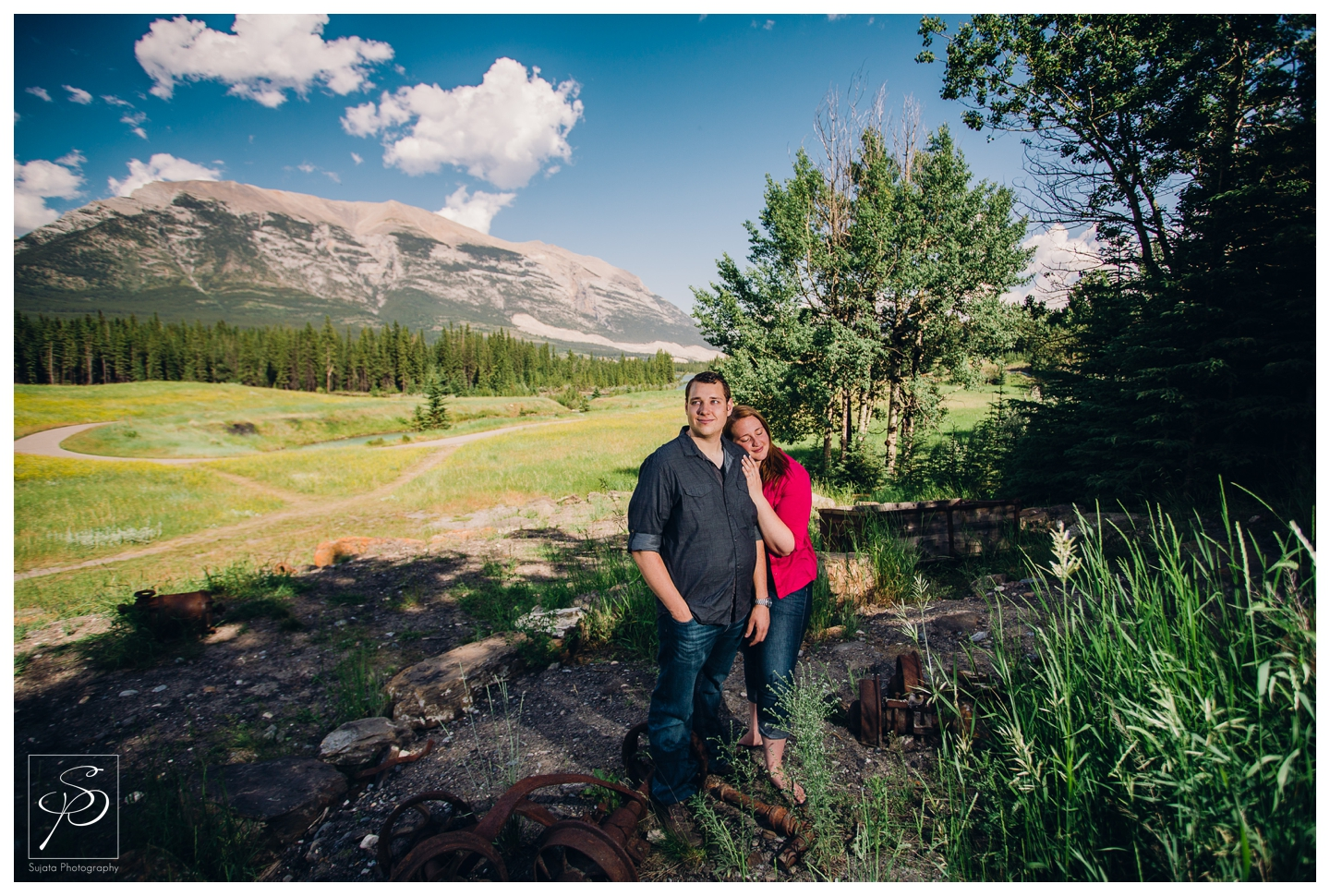 Couple posing during their Canmore engagement session