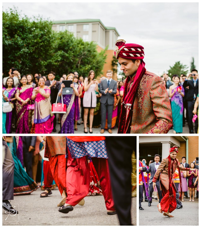 Groom dancing during barat at Executive Royal Inn Calgary