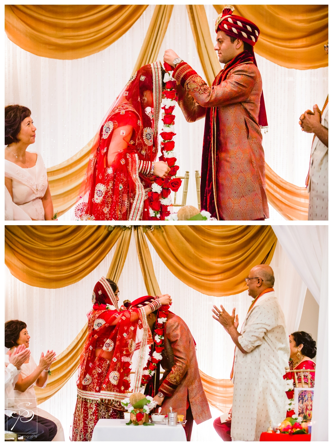 Bride and Groom exchanging flowers during hindu ceremony at Executive Royal Inn Calgary