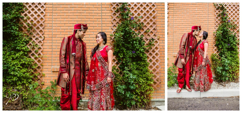 Hindu bridal portraits with bride in red Sari