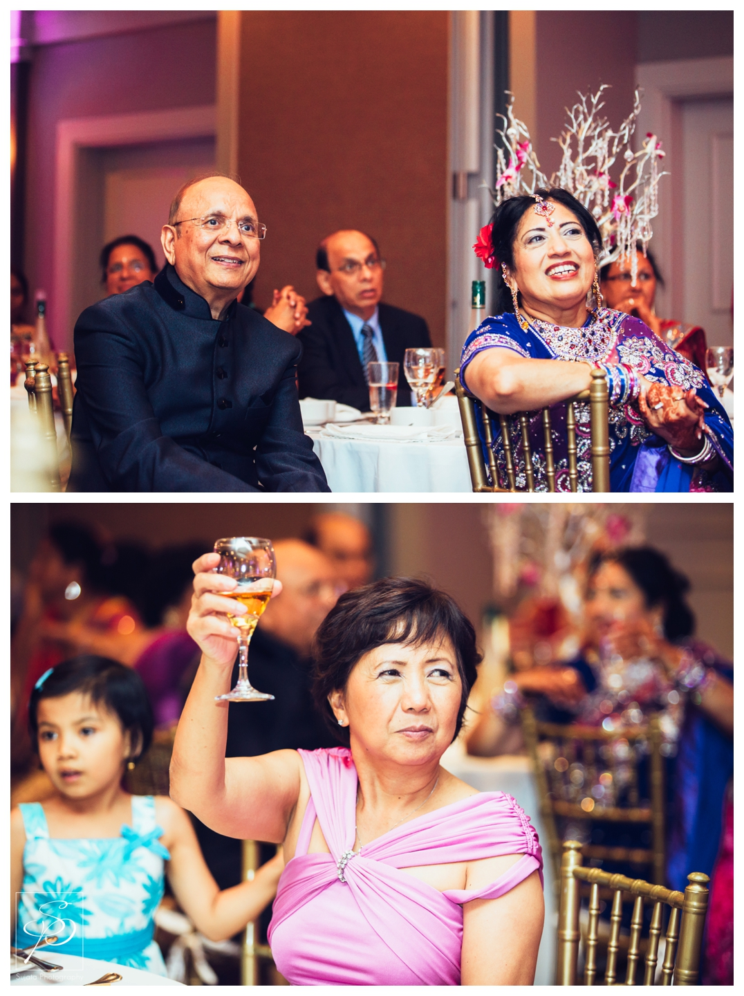 Parents toasting the bride and groom at reception Calgary