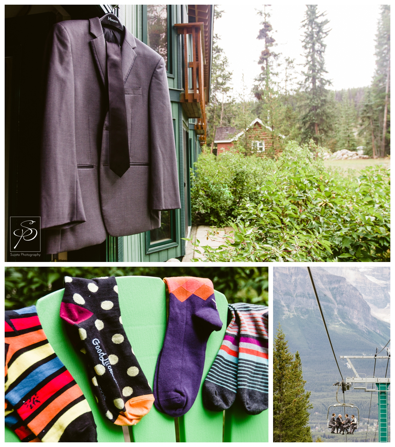 Groom's suit and colourful socks hanging at Lake Louise