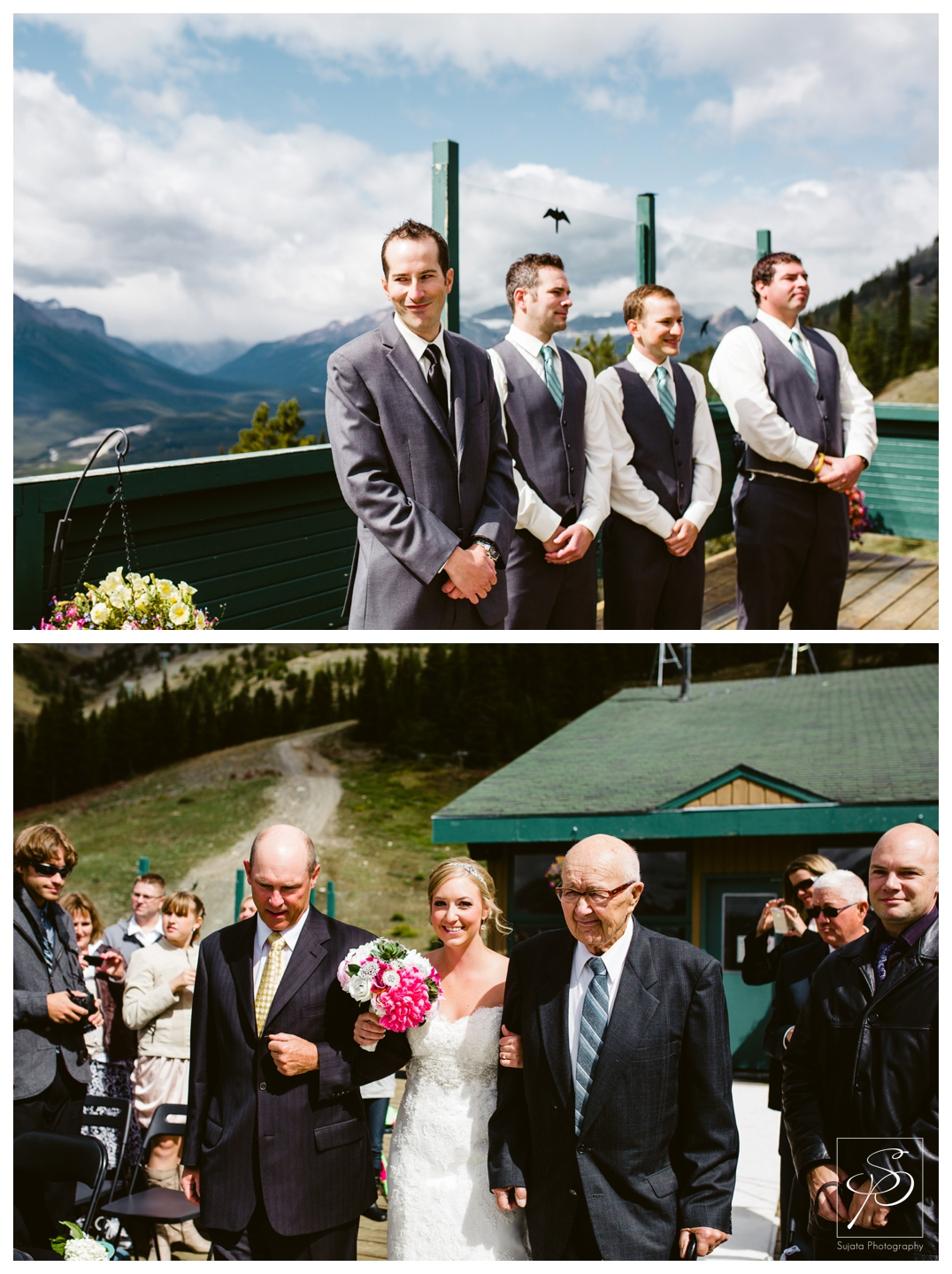 Bride coming down the aisle at Lake Louise wedding ceremony