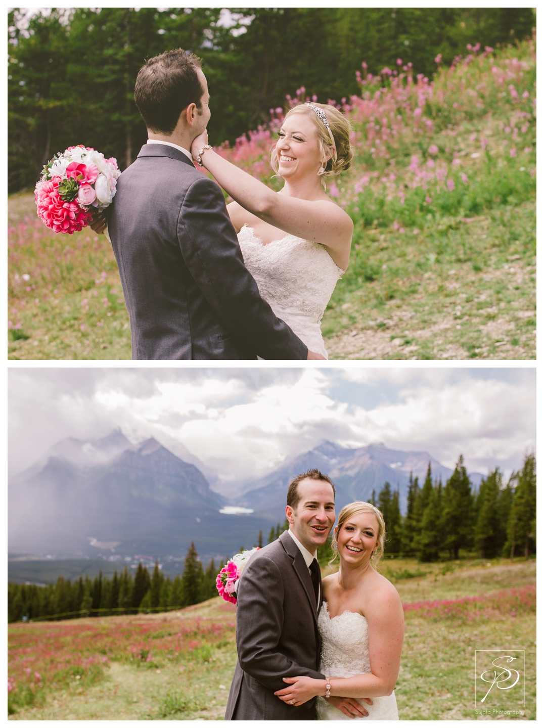 Bride and Groom with wildflowers fog at Lake Louise Ski Hill