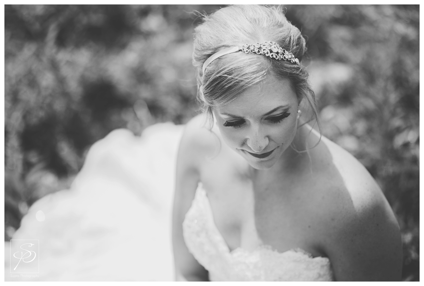 Black and white portrait of bride at Lake Louise Ski Hill