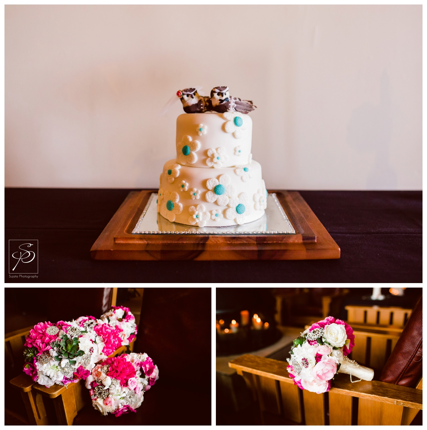 Wedding cake with love birds topper at Lake Louise Ski Hill wedding reception