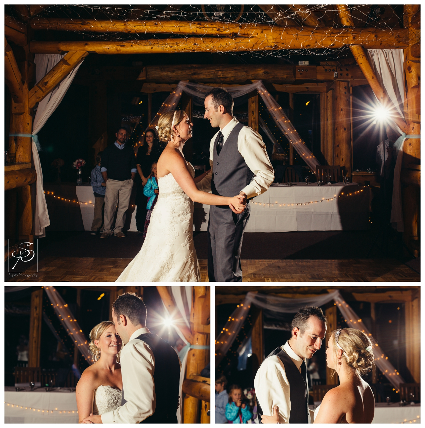 First dance at lake louise ski hill wedding reception