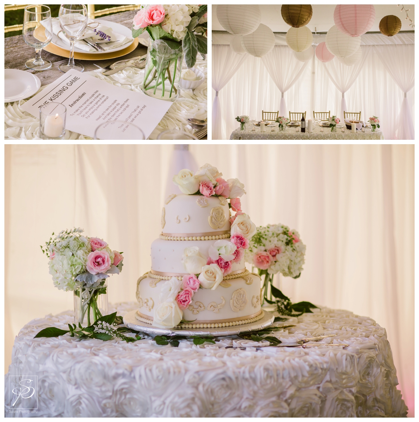 Pink and white wedding cake at tent reception