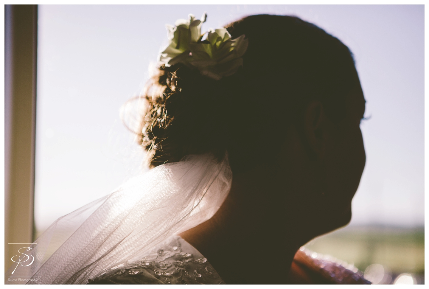 Slihouette bridal portrait at acreage wedding