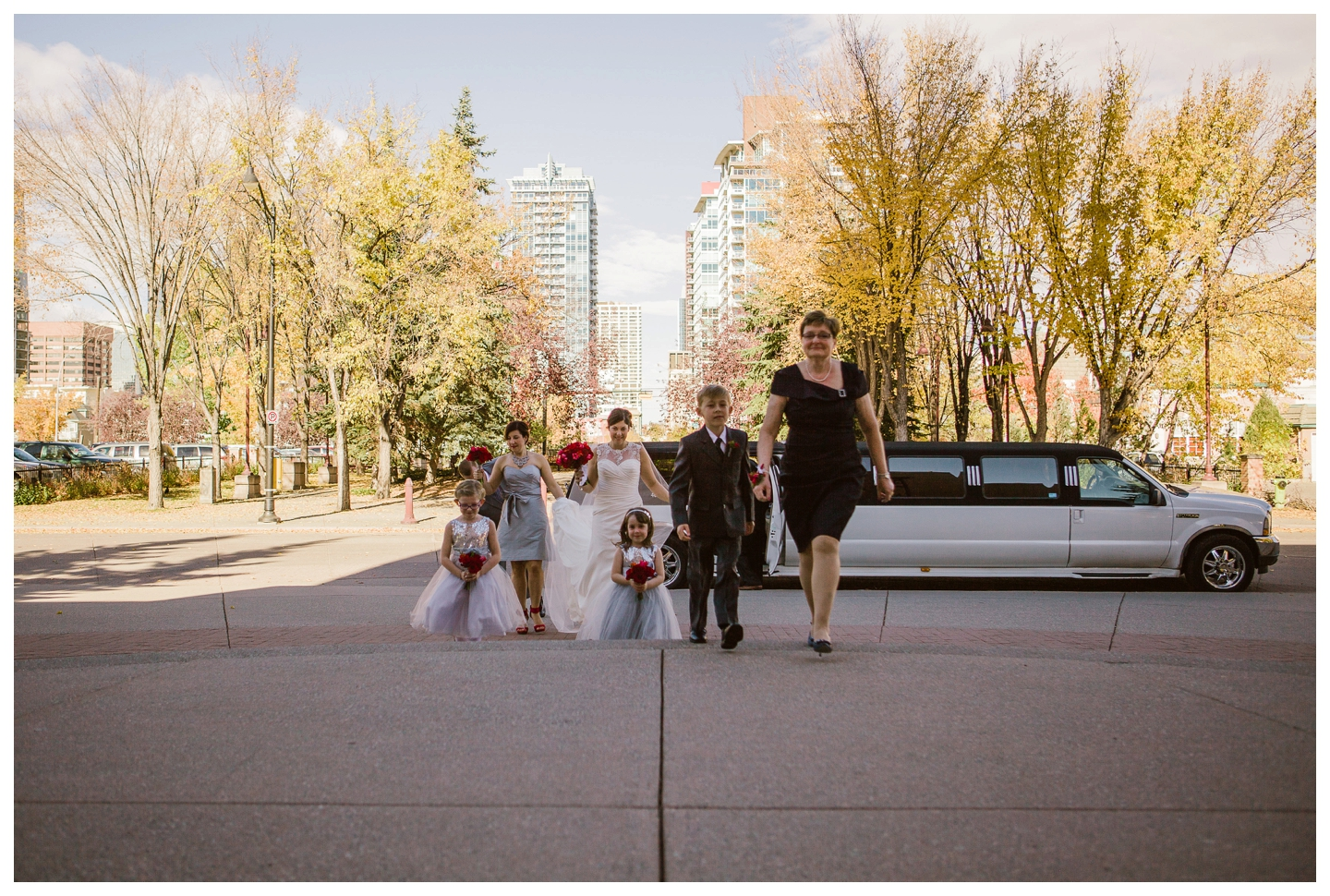 Bride and family arriving for Catholic Wedding ceremony