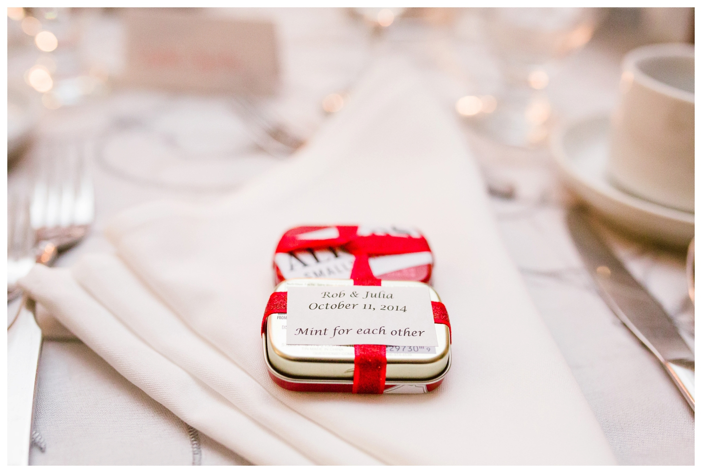 Mint guest wedding favours