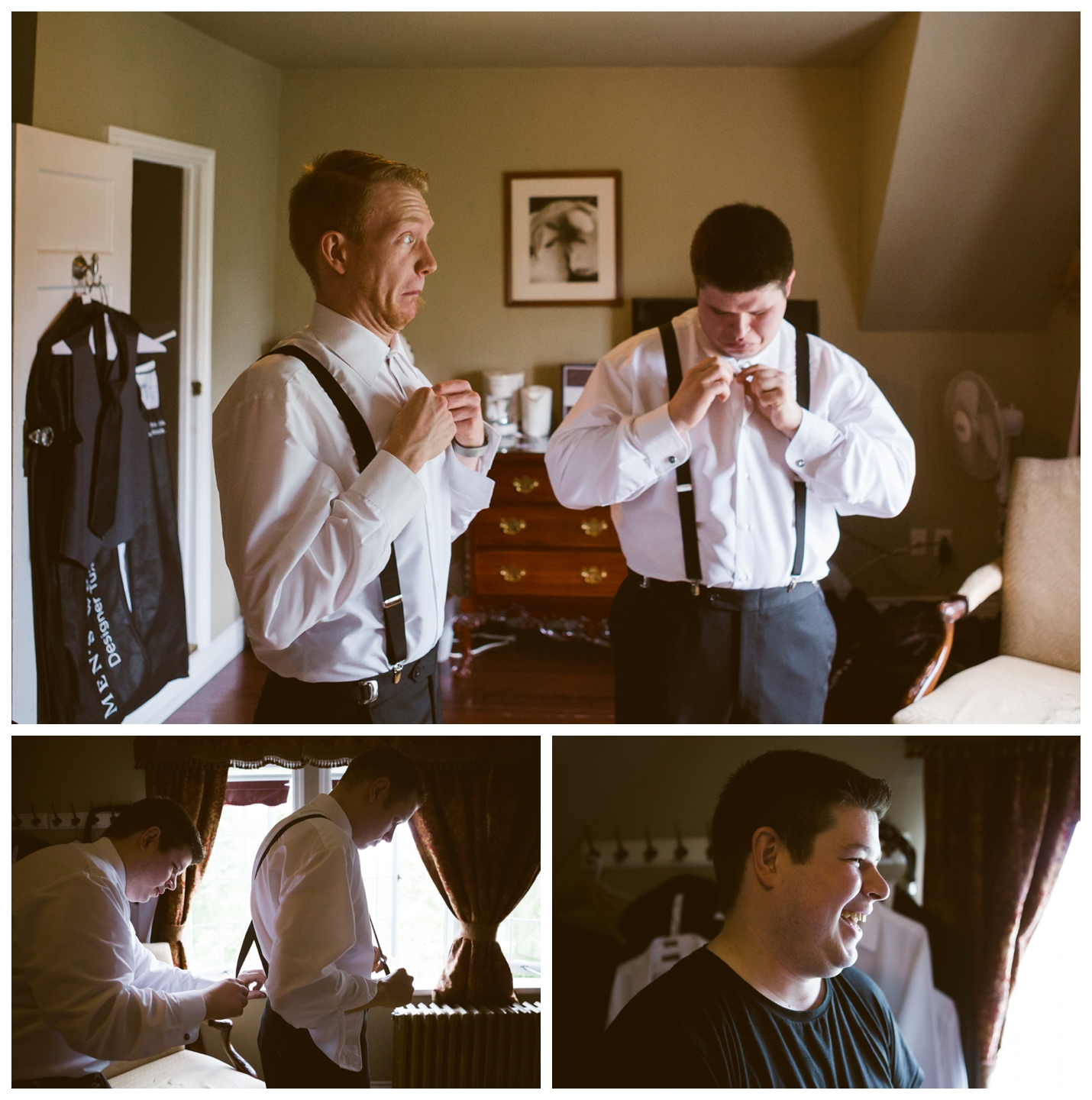 Groomsmen putting on suits