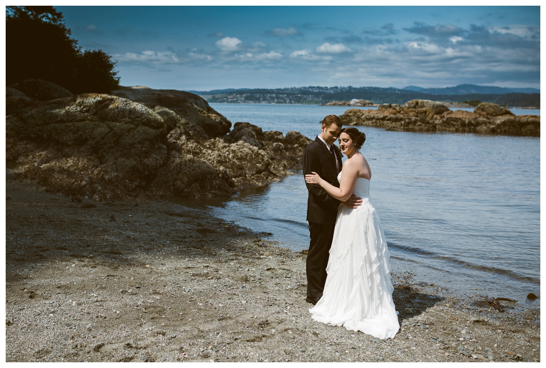 Bride and Groom by ocean Victoria BC
