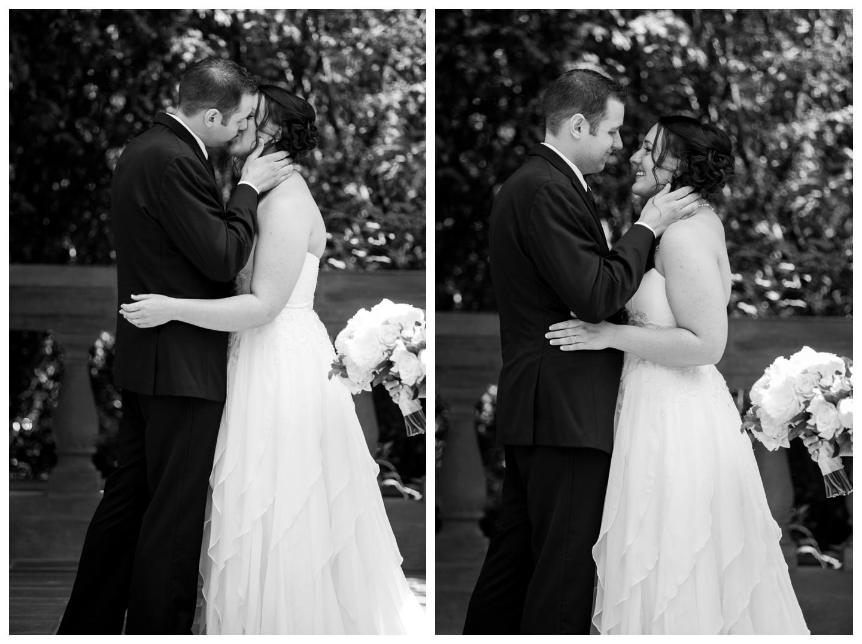 First kiss outdoor garden wedding