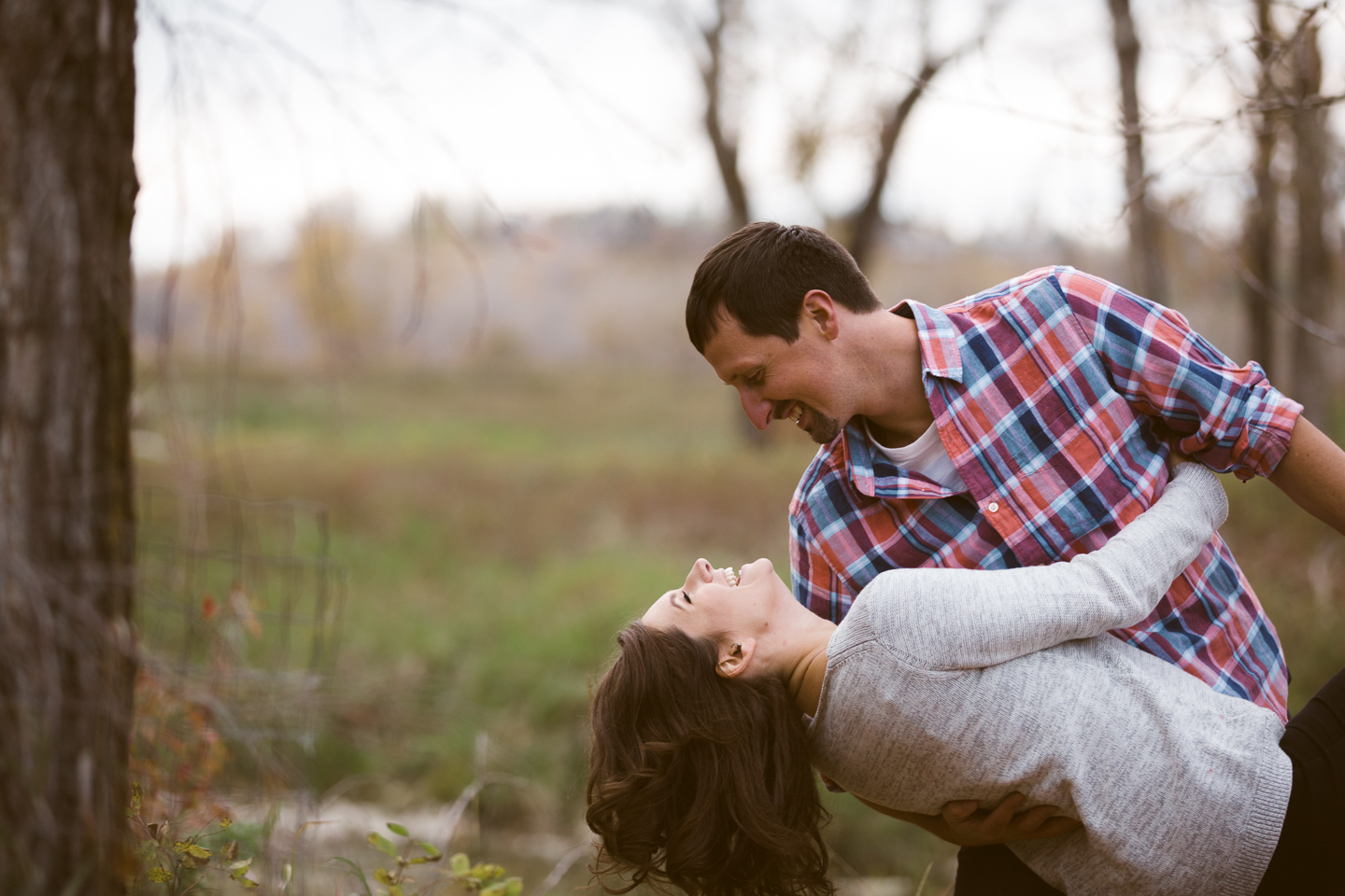 deep dip fall park engagement session
