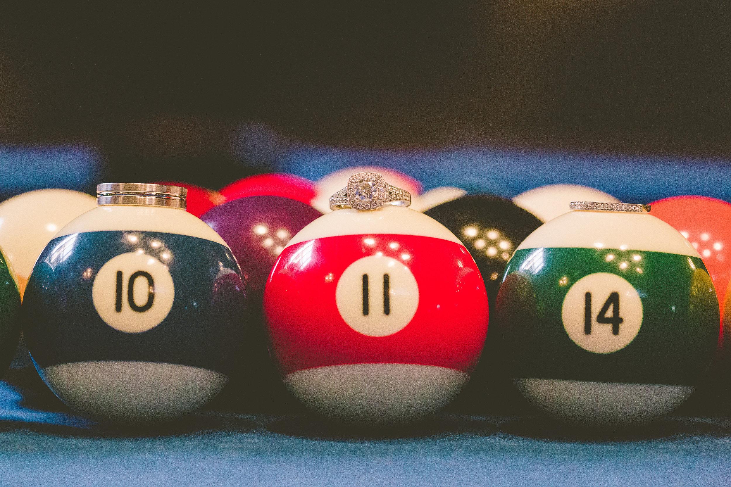 wedding ring pool balls