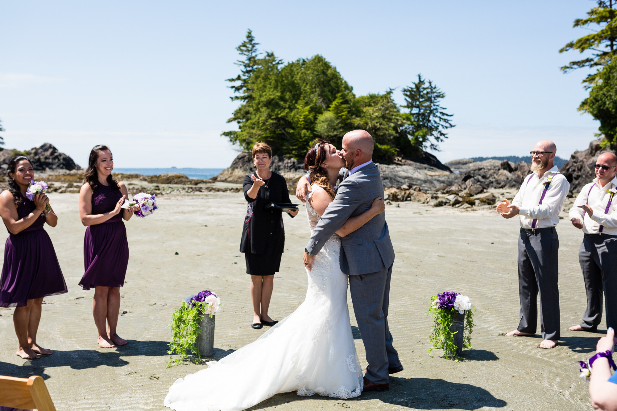 first kiss beach wedding tofino