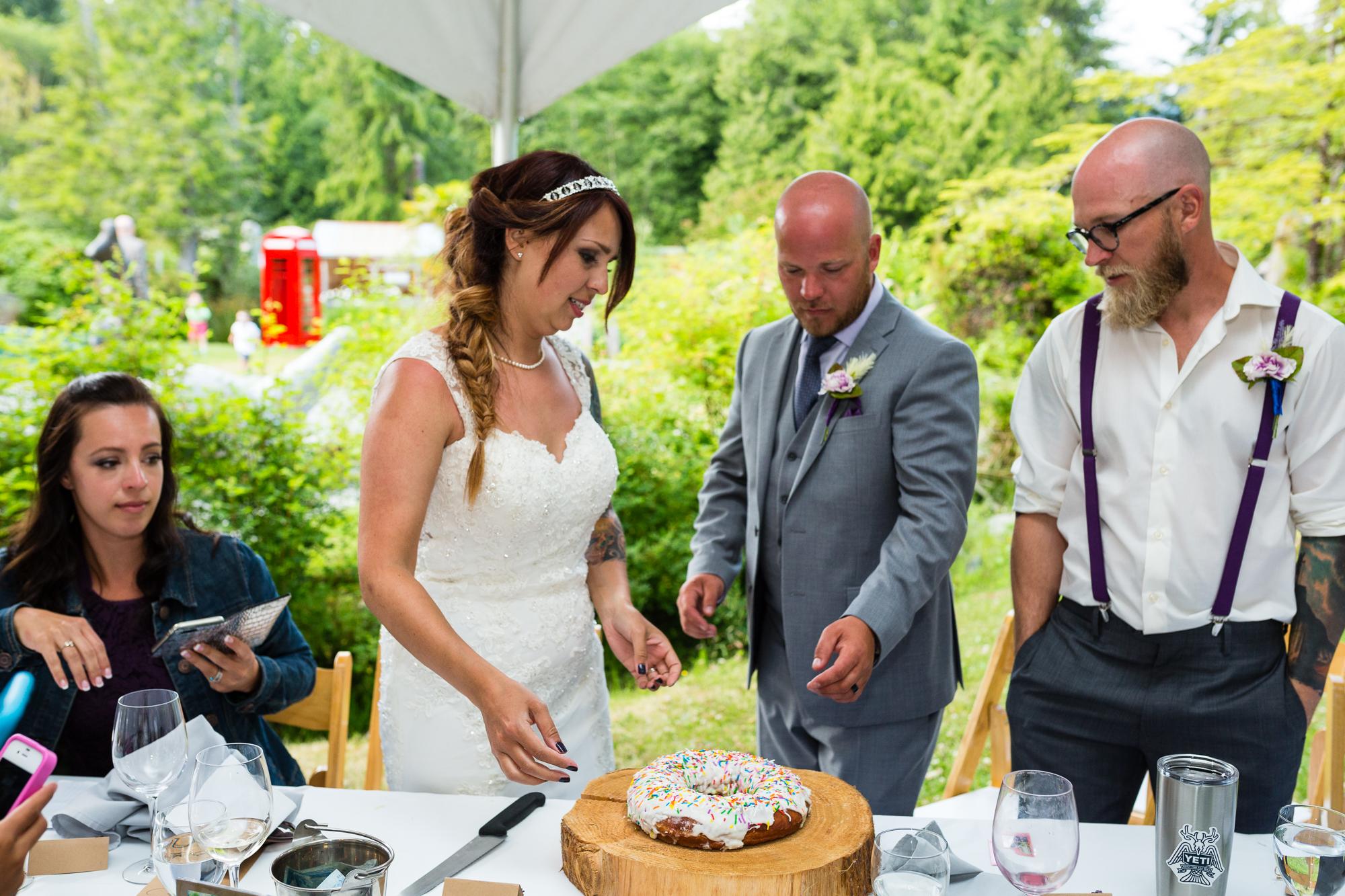 wedding donut cake cutting