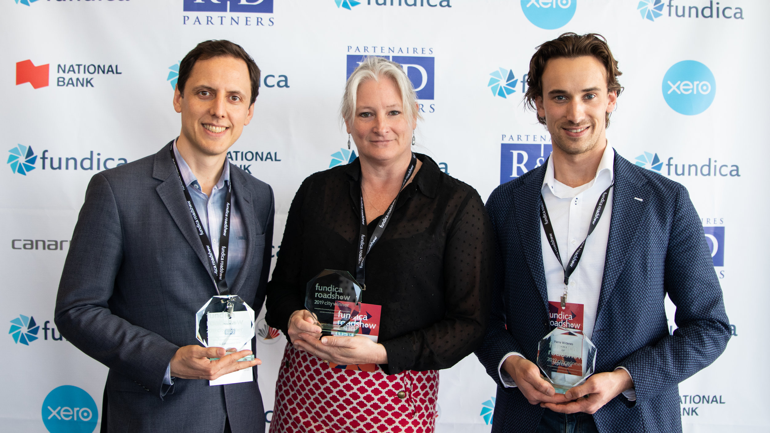 The Vancouver winners from left to right: Ryan Smith, CEO of Ftsy, Margary Moore, CEO of Gasperecz Global, and Pierre Wijdenes, CEO and Co-Founder of Neuraura.