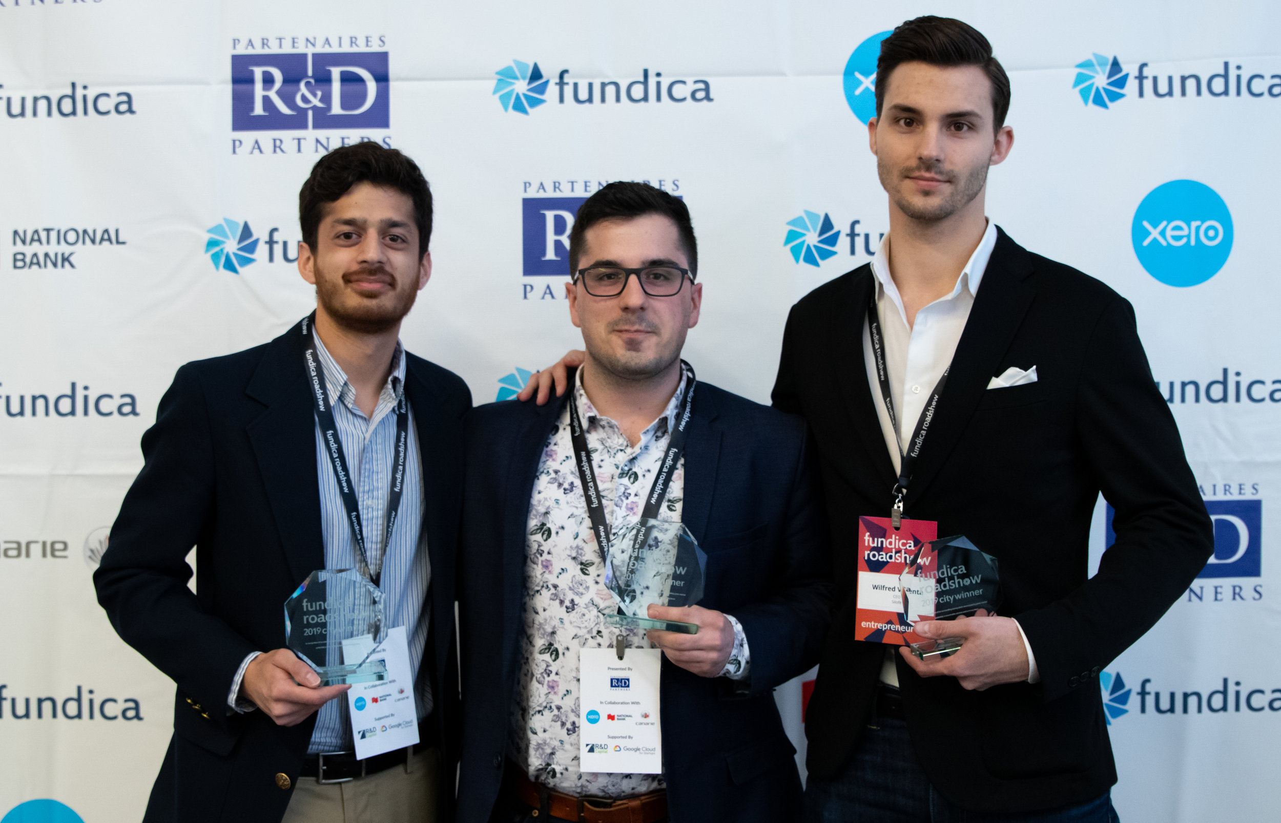 The Montreal city winners from left to right: Sahil Gupta, co-founder of Soundskrit, William St-Pierre, CEO of Mechasys, and Wilfred Valenta, CEO and Co-Founder of Silofit.