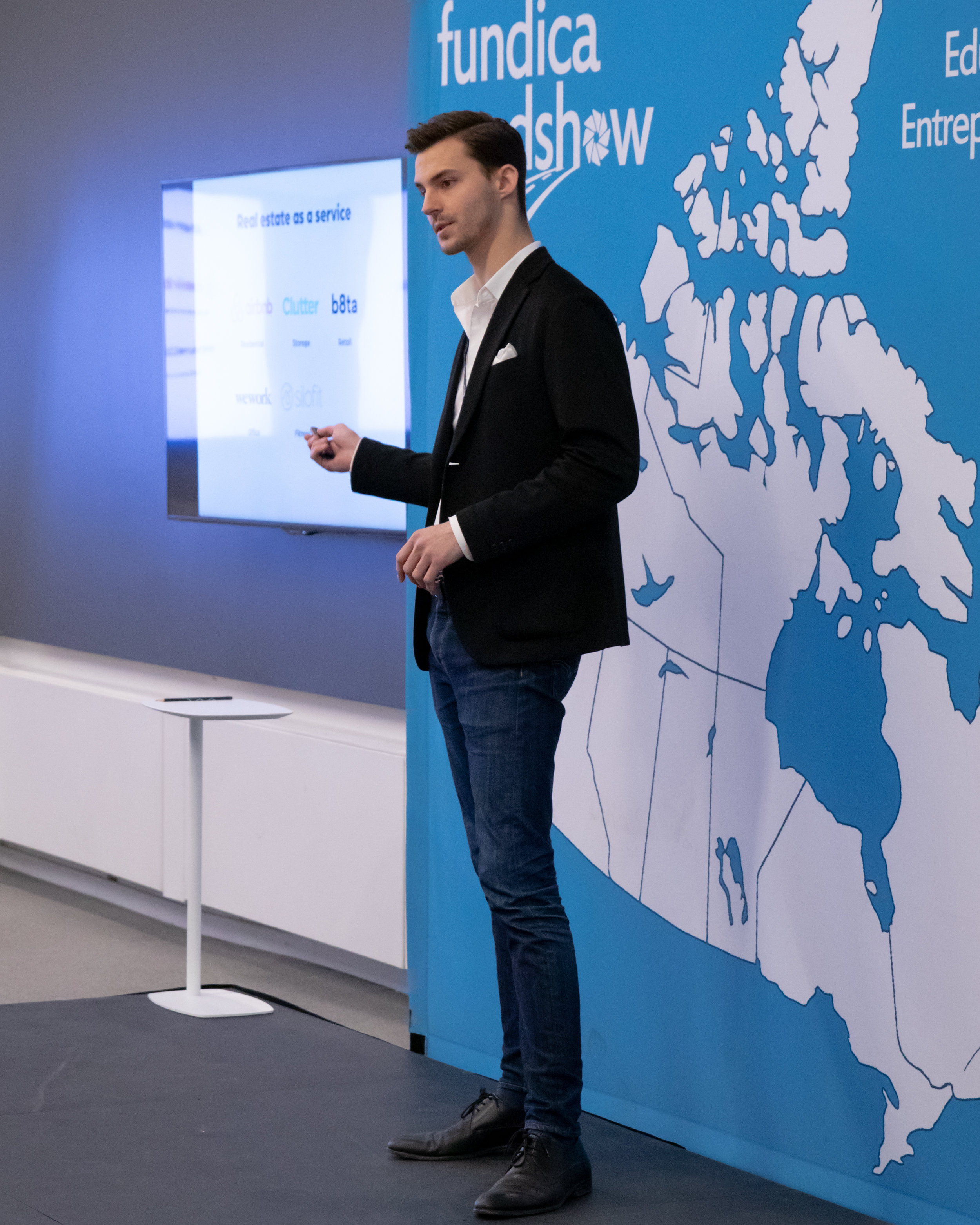 Silofit CEO and co-founder Wilfred Valenta pitching at the 2019 Fundica Roadshow in Montreal